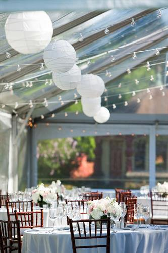 Clear Frame Tent with Paper Lanterns and Bistros