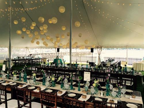 Tidewater Sailcloth Tent with Paper Lanterns Clustered Over Dance Floor