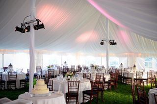 White Pole Tent with Liner and Par Can Spot Lights
