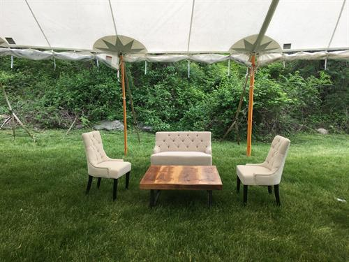 Soft Seating in A Tidewater Sailcloth Tent