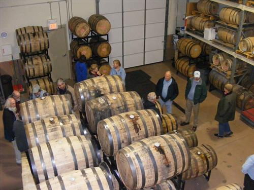 Our Barrel Room. Barrels aging Ryan & Wood Rye, Wheat and Malt Whiskey. Also, Folly Cove Rum and our very Interesting Cask Aged Knockabout Gin.