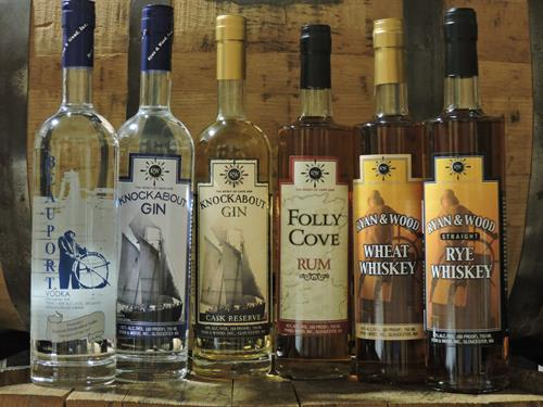 Line up of our crafted products available for tasting and purchase in our distillery gift shop.