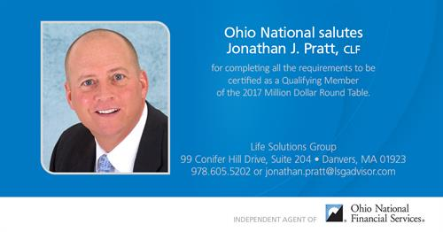 CEO Jonathan J. Pratt is honored as a member of the Million Dollar Round Table.
