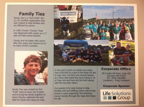 Family Ties Team raised over $100,000 to help fight cancer.