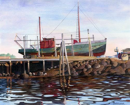 The Restoration of the Phyllis A watercolor