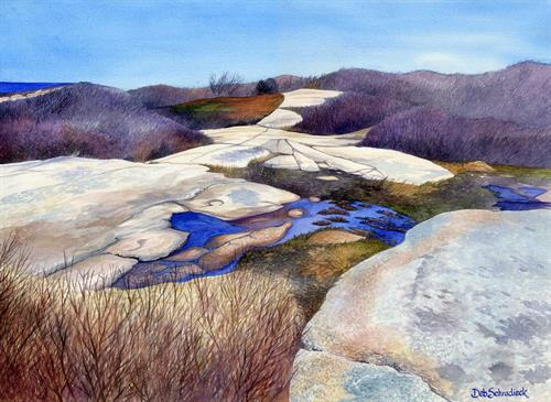 Halibut Point in Winter watercolor