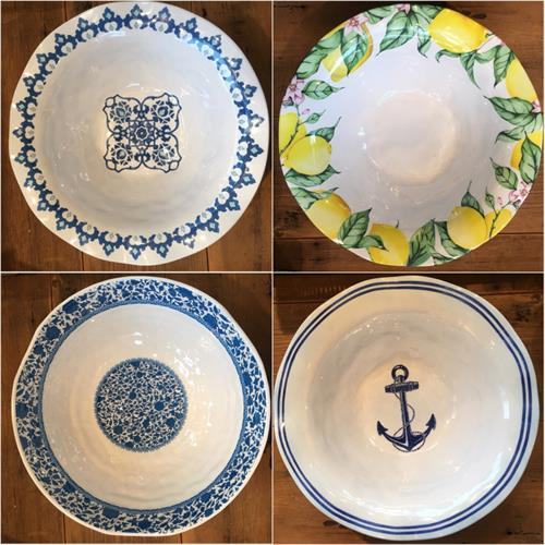 Serving Bowls.  Patterns in our large Melamine collection. Dishwasher safe.