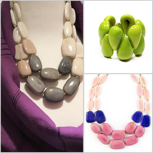 Tagua jewelry. Handmade in Ecuador from a palm tree found in the Rainforest..