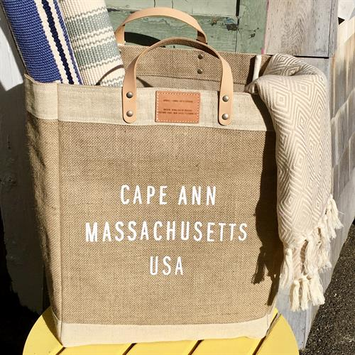 Cape Ann Jute bag. Waterproof interior. Leather handles. Made by female artisans in Bangladesh.  Fair Trade.