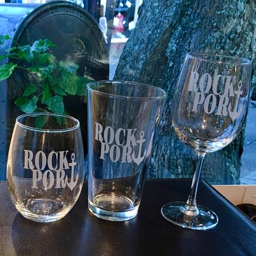 Rockport Etched glasses. Nautical styles too.