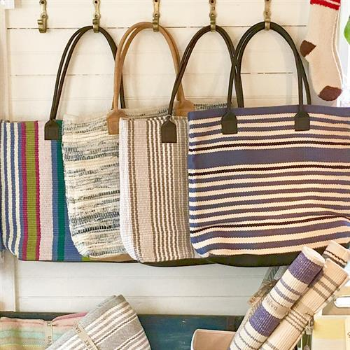 Dash & Albert Woven Cotton Totes. Leather handles.  Classic..