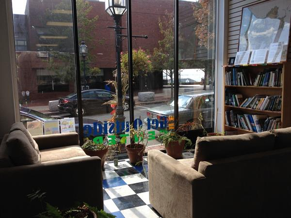 Reading nook and nature library at our Get Outside Center