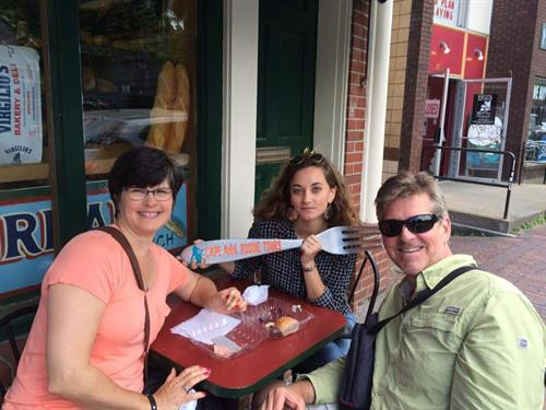 Visitors from out of state learn so much! Here a family from Wisconsin visits Virgilios!
