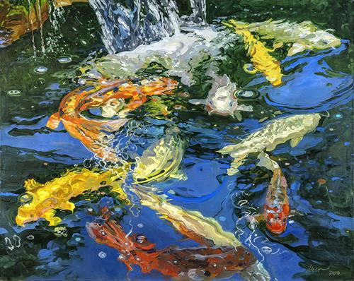 Koi with Waterfall,  collection Lahey Peabody lobby.   Giclee available.