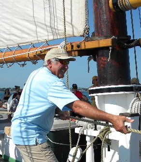 Raising Sail on Schooner Adventure