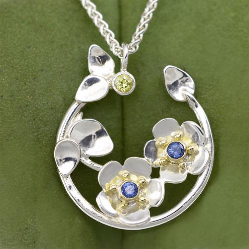 Forget Me Not Necklace w/ 18K Gold & Ceylon Blue Sapphires