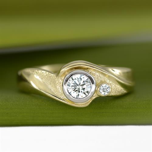 Engagement Ring: Embrace w/ Diamonds, 18K Yellow Gold