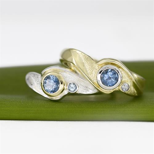 Embrace: Wave Collection Rings, Montana Blue Sapphires