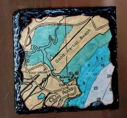 navigation map slate coasters