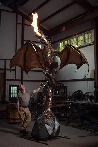 Fire breathing dragon in bronze for private client