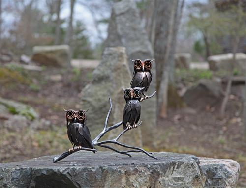 Screech owls in steel and bronze