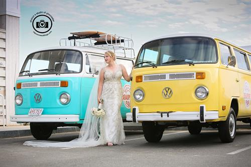 Bride with the VW buses at The Beauport Hotel