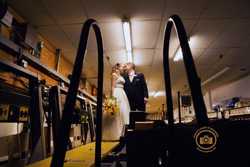 Wedding in the Pin Setting room of Cape Ann Bowling Alley