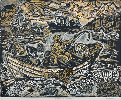 December Cod Fishing by Don Gorvett / 2000, Reduction Woodcut, size 22 x 27 inches. RARE