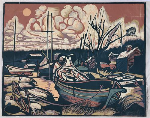 Chebacco Moonrise, Burnham Shipyard by Don Gorvett / Reduction woodcut, size 16.5 x 31.5 inches.