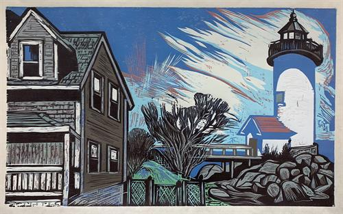 Annisquam, Light House by Don Gorvett / June 2020, Reduction Woodcut, size 16 x 37 inches.