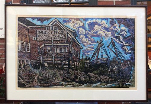A Final Resting Place by Don Gorvett, Reduction Woodcut, Edition 8, Size 22 x 40 inches.