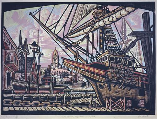 Galleon Mayflower in Drydock by Don Gorvett, Reduction Woodcut, size 27 x 37 inches.