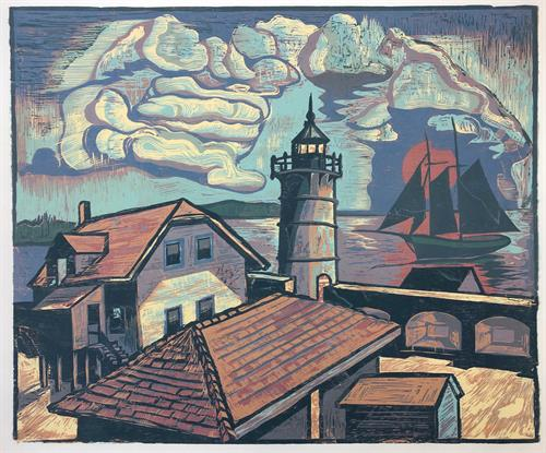 Lighthouse, New Castle by Don Gorvett / Reduction woodcut, size 20 x  24 inches.