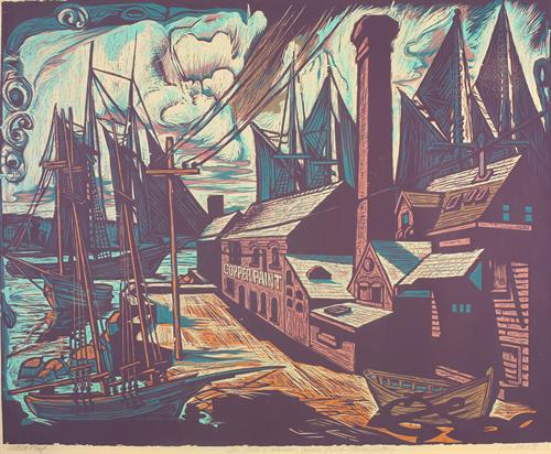Tarr and Wonson Copper Paint Manufactory  by Don Gorvett, Reduction Woodcut, size 27 x 35 inches.
