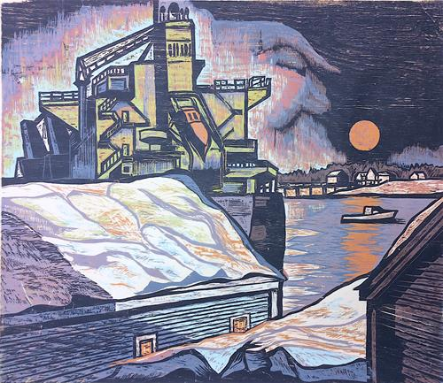 The Shipping Forecast, Blue Moon by Don Gorvett / Reduction Woodcut, Size 29 x 34 inches.