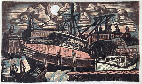 Two Friends by Don Gorvett, December 2020, Reduction woodcut, size 20.25 x 35 inches.