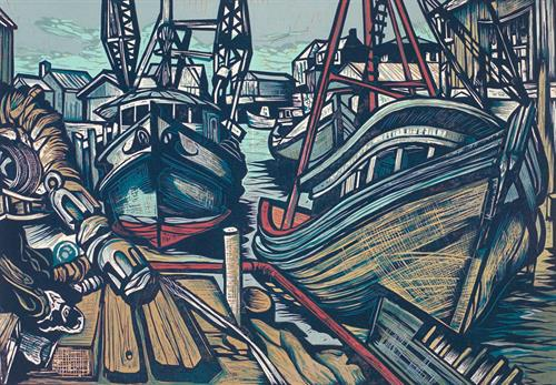 Shipwreck on a Shoal by don Gorvett, Reduction Woodcut, size 16 x 24 inches