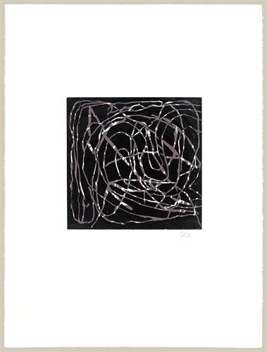 Geoffrey Bayliss . Joe's Music 2012 . Linocut print . Image: 12x12 inches on paper 30x22 inches