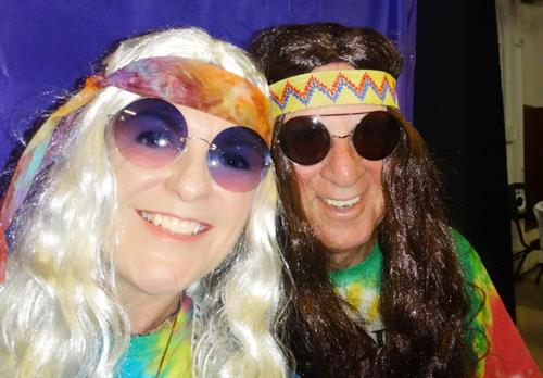 John & Christine as hippies Halloween party in Gloucester