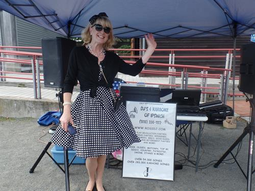 Christine at Pickering Wharf dress in her 50's outfit. Playin' Oldies at classic car show.