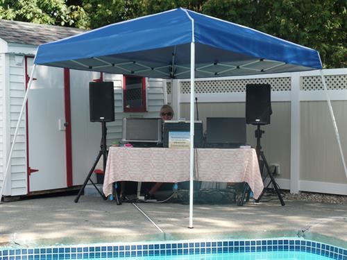 Pool party setup in Medford