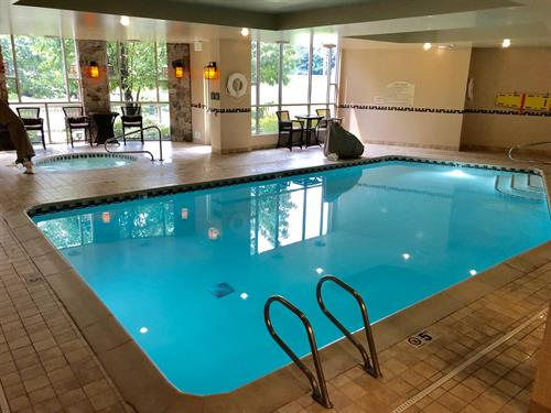 After a long day of travel and work, relax with a swim in our heated indoor swimming pool or a soak in the jetted whirlpool