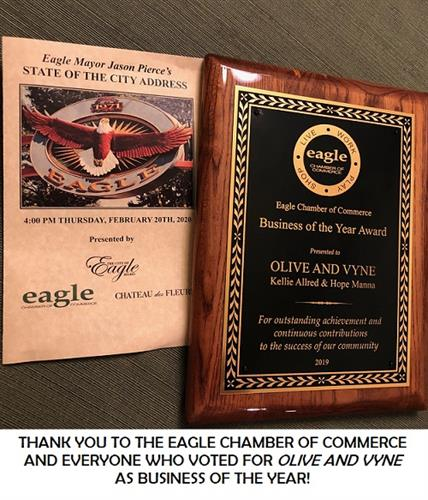 Thank you to the Eagle Chamber of Commerce. We are proud to receive the Business of the Year award!