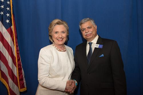 With Hilary Clinton in Orlando