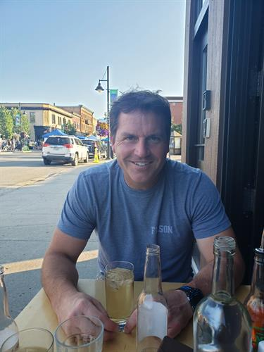Timber Benefits owner Darcy Leclaire enjoying a post ride bevvy at Loaf.