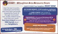 Stoughton Area Resource Team Inc. (START) Donation Drive