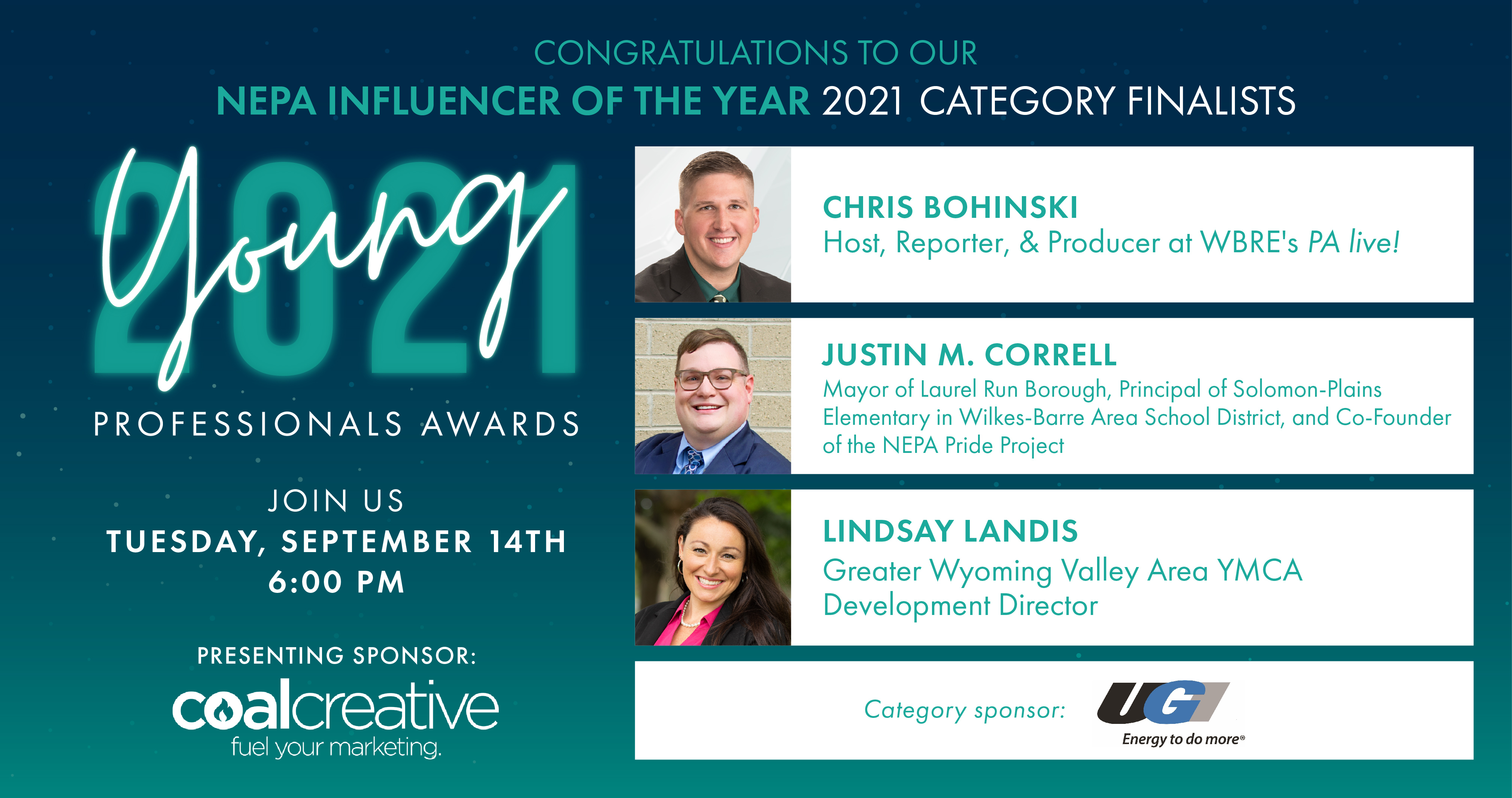 Image for Meet the 2021 Category Finalists for Young Professional NEPA Influencer of the Year!