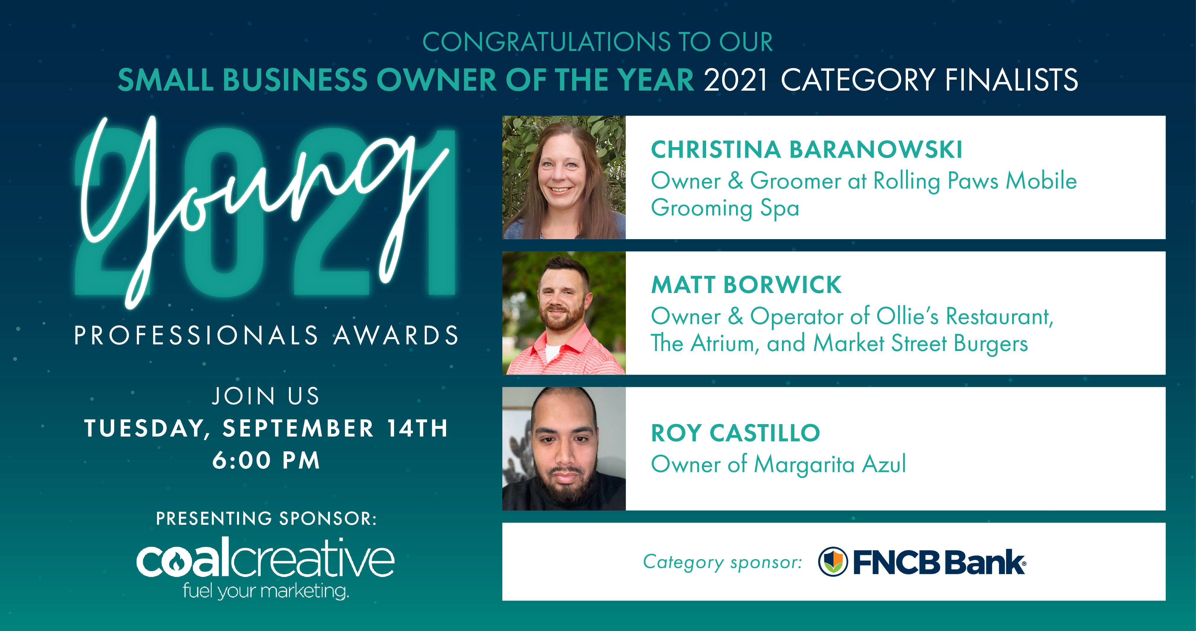 Image for Meet the 2021 Category Finalists for Young Professional Small Business Owner of the Year!