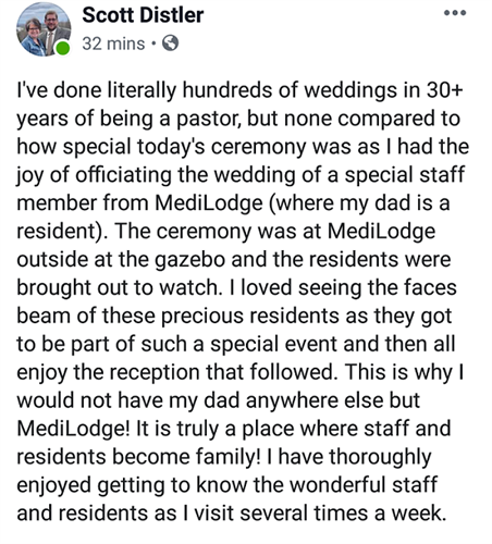 Pastor Scott Distler speaks about a recent wedding ceremony held at MediLodge of Gaylord for one of our staff!