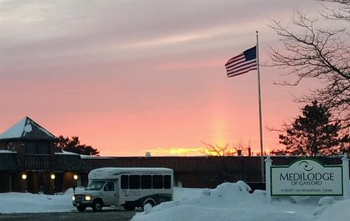 A beautiful sunrise to start the day at Medilodge of Gaylord
